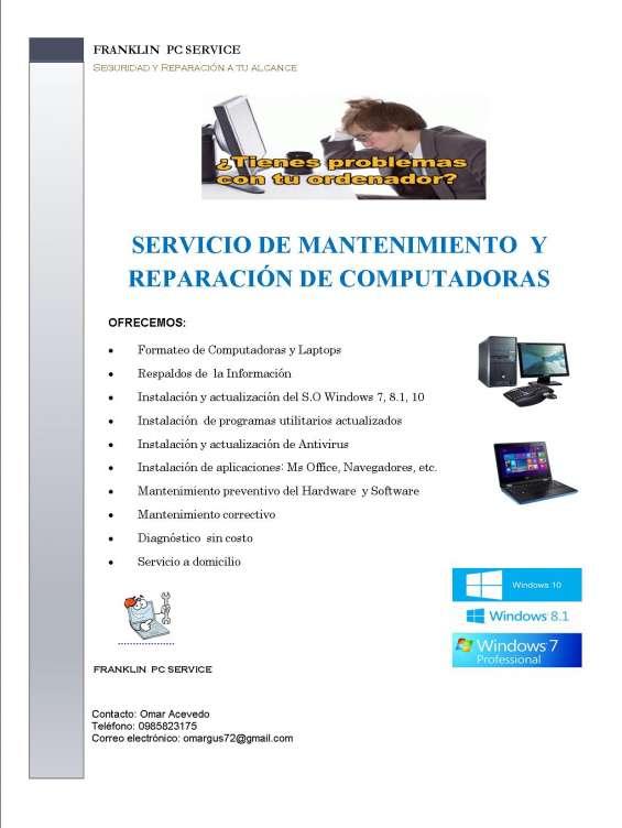 Mantenimiento y reparacion de computadoras