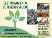 Gestión de residuos sólidos, reciclaje de chatarra, metálica, electrónica, maquinarias, ca