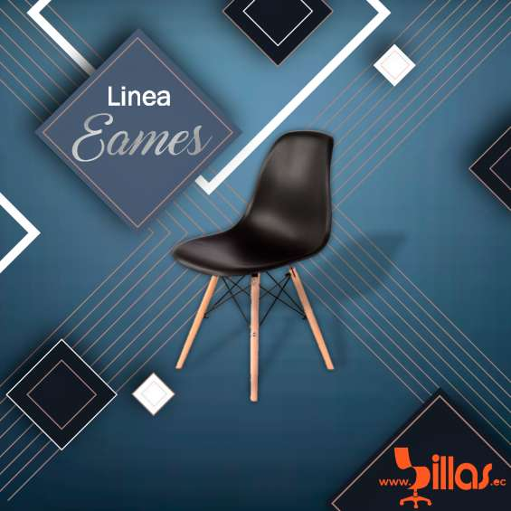 Silla modelo eames tapiz negro
